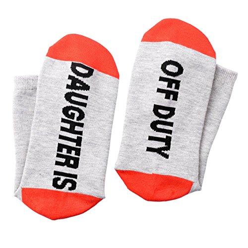 Teen Girls Stockings (Funny Knitting Word Daughter Is Off Duty Socks Novelty Cotton Crew Socks Gift for Women Teen Girls)