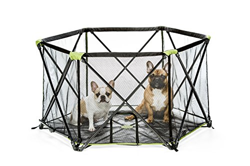 Carlson Pet Products 2850 8-Panel Folding Portable Pet Play Yard, Includes Travel Case, Green Portable Corral