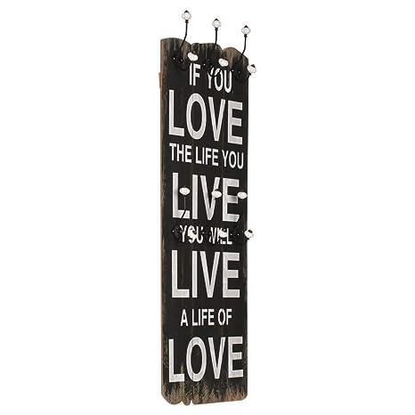 Zora Walter Perchero de Pared Love Life con 6 Ganchos 120x40 ...