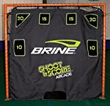 Brine Lacrosse Shoot and Score Arcade-6 Pocket Target with Self Returning Ball System-Fits on 6 x 6 Goal (Black)