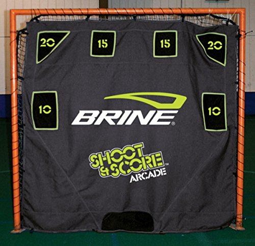 Brine Lacrosse Shoot and Score Arcade-6 Pocket Target with Self Returning Ball System-Fits on 6 x 6 Goal (Black) by Brine