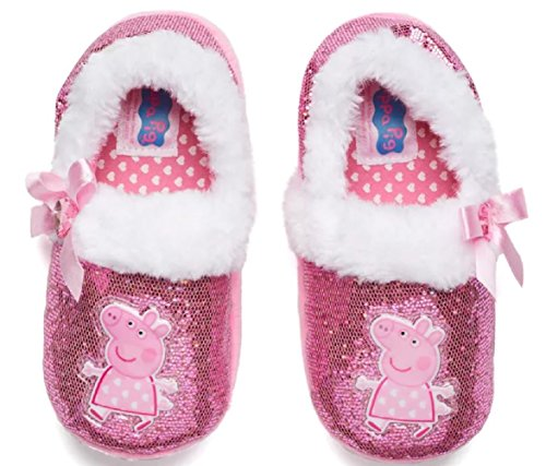 (Peppa Pig Girls Slippers Glitter Faux Fur Sparkle (Medium 7/8))