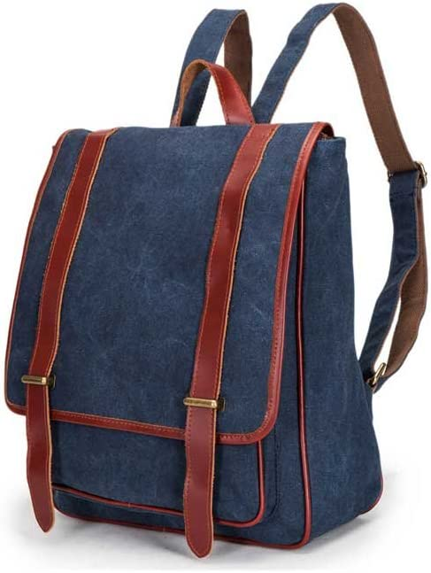 Amyannie Canvas Bag Backpack College Wind Cool Canvas Canvas with Leather Backpack Large Capacity Travel Bag