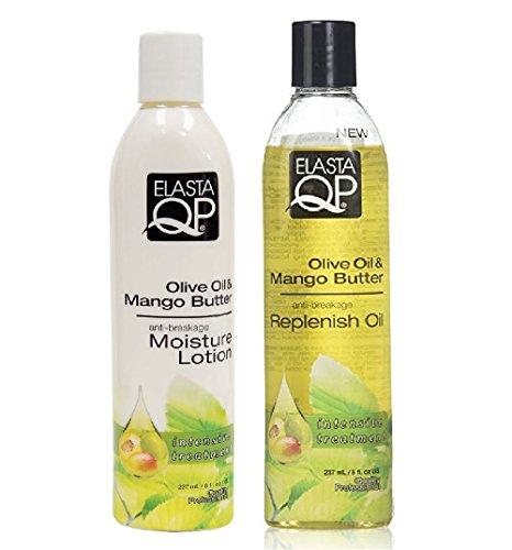 Elasta QP Olive Oil & Mango Butter Double Set (Growth Moisturizer, Growth Oil) Plus 1 Free pencil