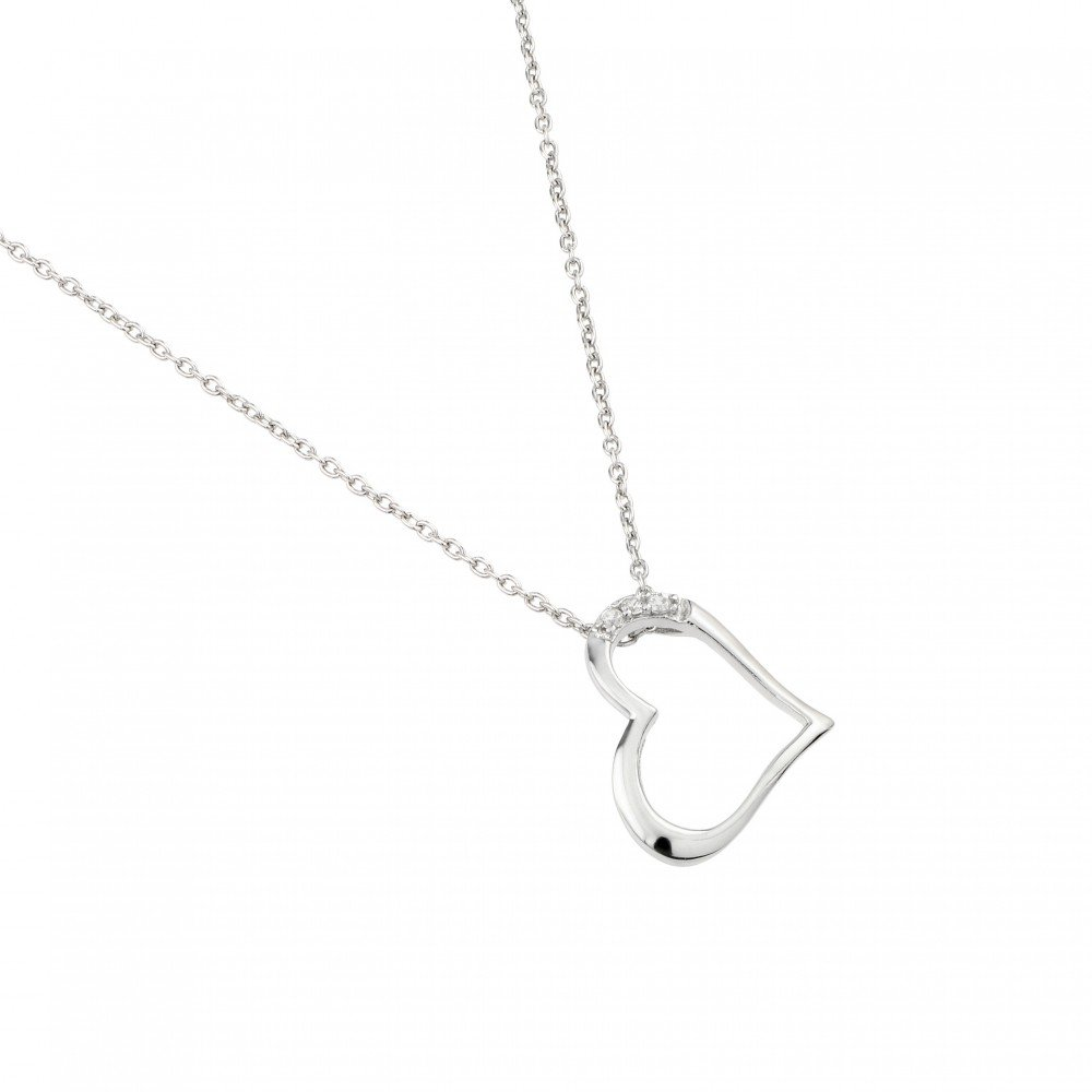 Three Clear Cubic Zirconia Sideways Plain Heart Necklace Rhodium Plated Sterling Silver
