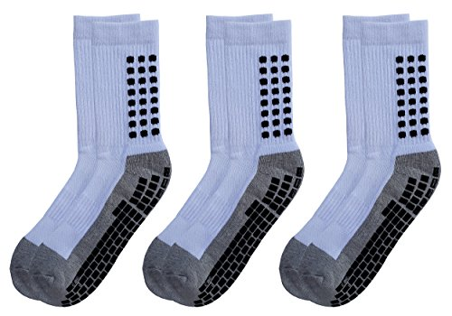 Deluxe Anti Slip Non Skid Slipper Hospital Socks with grips for Adults Men Women (Large, 3 pairs-white)