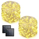 Vmanoo LED String Lights 72 Feet 200 LED Solar Powered Copper Wire Starry Rope Xmas Lights Indoor Outdoor Lighting for Home Garden Party Path Lawn Wedding Christmas DIY Decoration 2-Pack (Warm White)