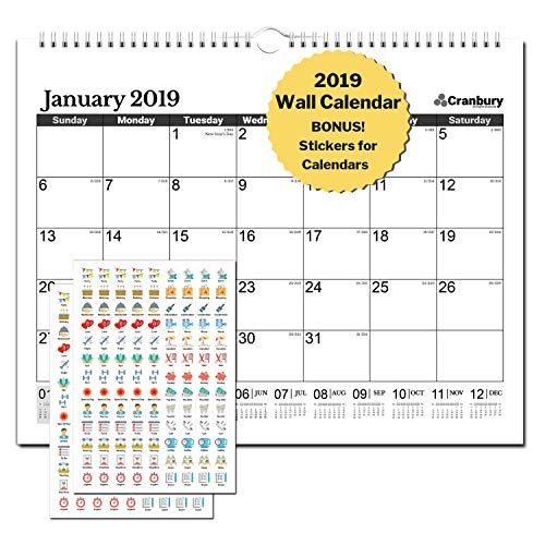 2019 Wall Calendar: 15x12 2019 Wall Calendar Includes Stickers for Calendars, Use Monthly Calender Through December 2019, Family Calendar for Home or Office, Calanders by Cranbury