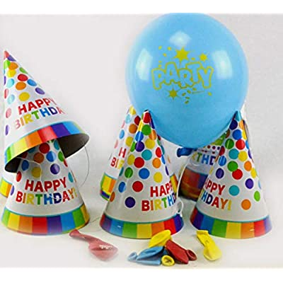 Fun Rainbow Birthday Party Paper Cone Hats , Pack of 12, Multi , 7