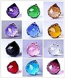 Wispun 30mm Vintage Feng Shui Faceted Decorating Crystal Ball Prism Multi-color 12pcs
