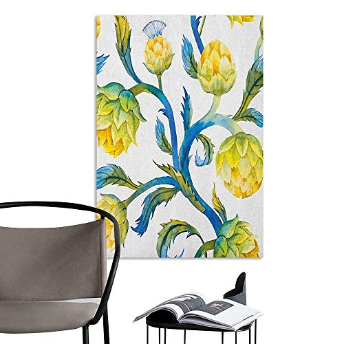 Wall Art Canvas Prints Artichoke Watercolor Abstract Flowers Natural Foods Organic Way of Life Violet Blue and Earth Yellow for Kids Rooms Boy Room W16 x H20 - Coco Frame Natural Stick