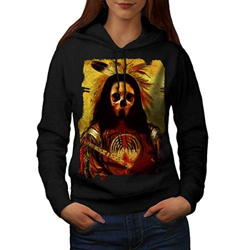 [Skull Indian Soldier Costume Women NEW Black L Hoodie | Wellcoda] (Mayan Warrior Costumes)