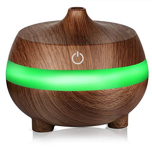 ZLMI Wood Grain Humidifier USB Home Office Humidifier 300Ml Mini Car Bedroom Humidifier 10.99Cm,Brown