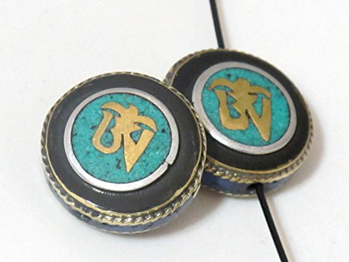 Tibetan Om inscribed brass bead with turquoise and lapis inlay 23 mm wide - 2 beads - BD471 ()