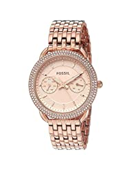 Fossil Women's 35mm Rose Gold-Tone Steel Bracelet & Case Quartz Pink Dial Analog Watch ES4055