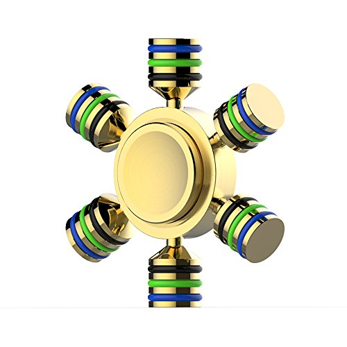 Xultrashine Six Winged Hand Spinner Premium Brass Fidget Spinner EDC Focus Toy Stress Reducer with High Speed Stainless Steel Bearings Last 3-5 Min Spins for ADD, ADHD, Anxiety and Autism People