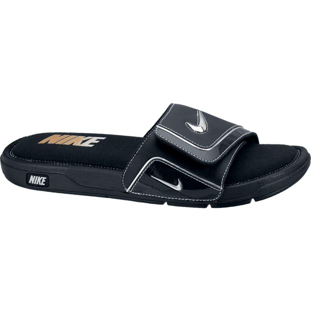 Nike Mens Comfort Slide 2 Sandal (13, Black/Metallic Silver/White)