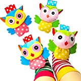 Baby Socks Toys, Baby Infant Wrist Rattles and Foot Rattles Finder Socks Toy Set, Early Educational Development Animal Rattles Toy Gift for Boys and Girls (4 Packs)