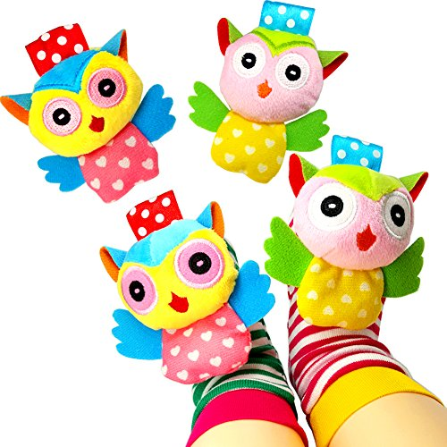 Baby Socks Toys, Baby Infant Wrist Rattles and Foot Rattles Finder Socks Toy Set, Early Educational Development Animal Rattles Toy Gift for Boys and Girls (4 Packs) by GUOMAN