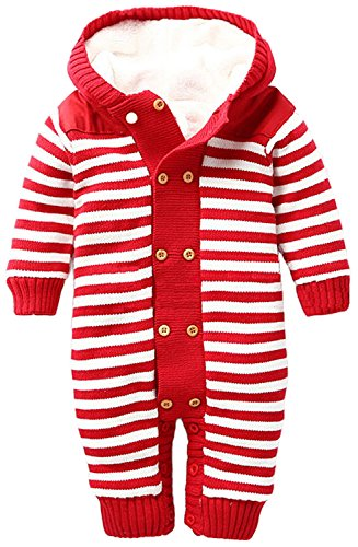 ZOEREA Infant Newborn Baby Romper Sweaters Velvet Knitted Hooded Striped Red, Label 70/Age 0-6months (Hooded Romper Newborn compare prices)