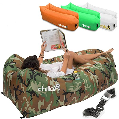 ChillaX Inflatable Lounger with Carry Bag, Securing Stake and Bottle Opener for Travelling, Camping, Hiking, Pool and Beach Parties (Camouflage) (Outdoor Stores In Edmonton)