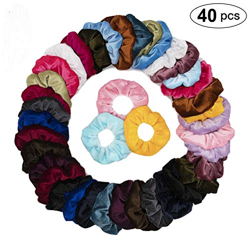 40 Pack Colorful Velvet Hair Scrunchies Velvet Scrunchies for Hair Elastic Velvet Hair Bands Hair Ties for Women or Girls Hair Accessories - 20 Assorted Colors Scrunchies
