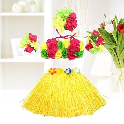 5Pcs Hawaii Tropical Hula Grass Dance Skirt Flower Bracelets Headband Bra Set 40cm (Yellow Skirt) by LUOEM (Image #2)