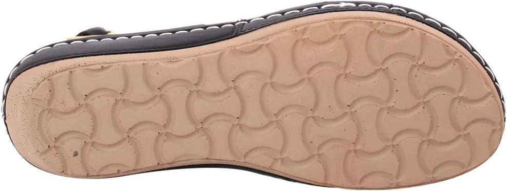 Unze Vrouwen Itzel teen Loop Open teen metallic gesp sluiting Casual Glossy Comfort zomer Wedge Sandalen UK Size UK Size 3-8 Zwart