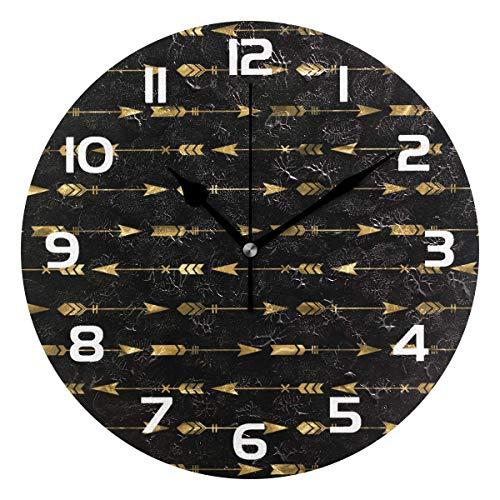 Arthuryerkes Arrow Pattern Decorative Wooden Wall Clock Decor for Home Office (Arrow Clock)