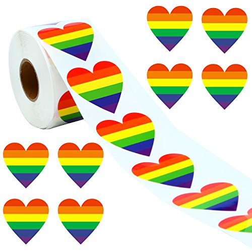 (Ruisita 500 Pieces Gay Pride Rainbow Stickers on a Roll, Support LGBT Causes, Heart Shaped (Heart))