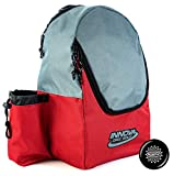 Innova Discover Pack Backpack Disc Golf Bag - Holds 15 Discs - Lightweight Easy to Carry - Includes Innova Limited Edition Stars Mini Marker (Red/Gray)