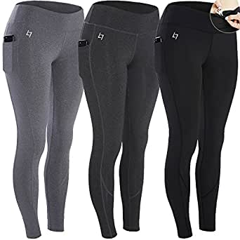FITTIN Yoga Workout Leggings 3-Pack - Power Flex Pants for Fitness Running Sports Small