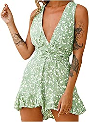 SHOPESSA Flowy Shorts Plunge Romper for Women Beach Vacation Jumpsuits Flared Casual One Piece Outfits