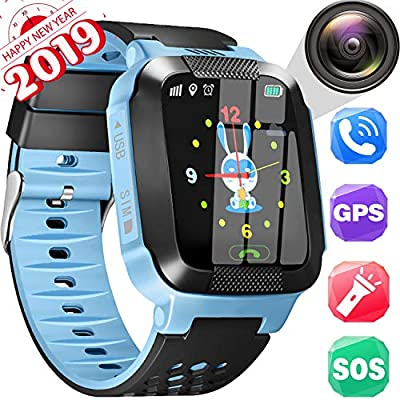 Smart Watch Kids GPS Tracker Watch - Kids Smartwatch Phone Call Anti-Lost HD 1.55'' Touch Screen Activity Sport Wearable Tracker with Game SOS Camera Flashlight 2019 New Year Gifts Electronic Toys