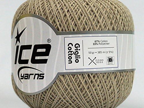 Lote de 6 madejas de hilo de hielo GIGLIO de algodón (67% algodón) para tejer a mano, color beige: Amazon.es: Juguetes y juegos