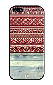 iZERCASE Red Tribal Pattern on Wood RUBBER iPhone 5 / iPhone 5S case - Fits iPhone 5, iPhone 5S T-Mobile, Verizon, AT&T, Sprint and International