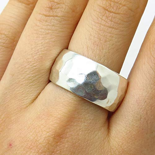 - Vintage Mexico HOB 925 Sterling Silver Hammered Finish Wide Band Ring Size 9 3/4 Jewelry by Wholesale Charms