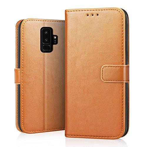 RIFFUE Funda Samsung Galaxy S9 Plus, Cartera Carcasa Piel Plegable Cubierta del Tirón Estilo Retro PU con Ranuras de Tarjetas para Samsung Galaxy S9 ...