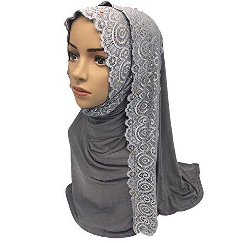 Lace Rhinestones Decorated Muslim Cotton Long Hijabs Scarves Shawls 75x170cm Weight: 0.28Kg (Grey) by Yaleagzss