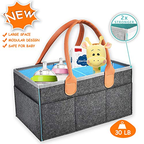 "INCX Baby Diaper Caddy Diaper Tote Bag for Infant Girls Boys Large (15″x10″x7"") Portable Car Travel Organizer Nursery Storage Bin for Changing Table Baby Shower Gift Basket Newborn Registry"