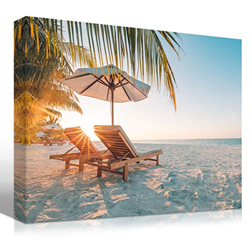 Mon Art Summer Holiday Beach Sunset Canvas Print Tropical Palm Tree Sea Scene Wall Art White Sand Landscape Vacation Sunshine Picture Photo Artwork Modern Seasonal Decoration Home Decor Framed,12x16x1 -