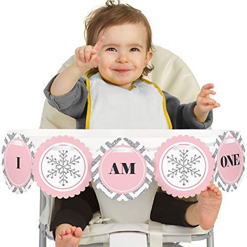 Pink Onederland 1st Birthday - I Am One - First Winter Wonderland Birthday High Chair Banner -