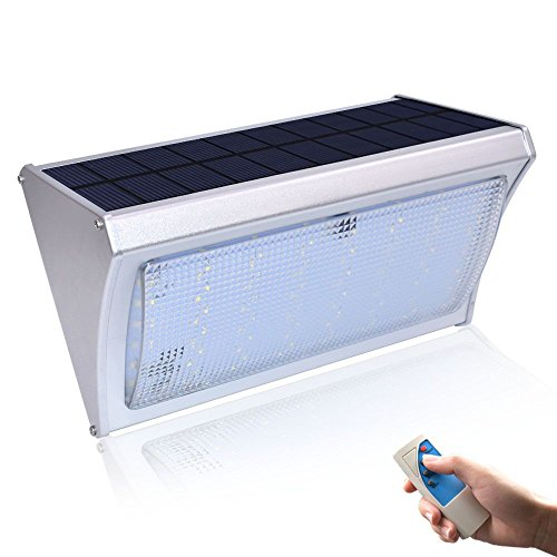 Kiwong 1000lm Bright Solar Light 56 LED Microwave Radar Motion Sensor Power Lamp For Outdoor Garden Street Wall With Remote Control Three Modes