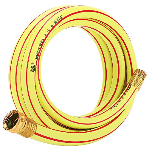 Homes Garden 10 ft. Short Garden Hose 3/4 inch Yellow Water Hose Commercial Brass Coupling Fittings for Household, Industrial 5 Years Warranty #G-H163A09-USA