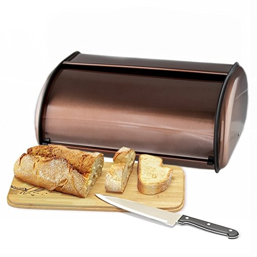 Copper Stainless Steel Bread Box Roll Top 2 Loaf Capacity Bread Box MW3580