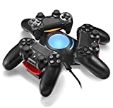 Vinpie PS4 Controller Charger Docking Station Tripple Charging Station with BLUE LED LIGHT for PS4 Playstation 4 DS4 DualShock 4 Controllers from Vinpie