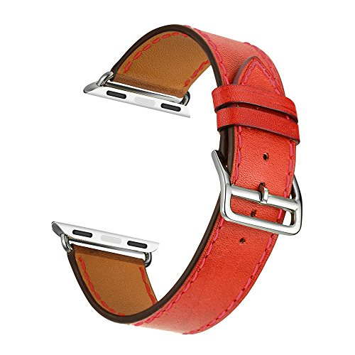 Kartice for Apple Watch Band Luxury Genuine Leather Watch Band Strap Bracelet Replacement Wrist Band With Adapter Clasp for iWahtch Apple Watch & Sport & Edition--Single tour orange red 42mm