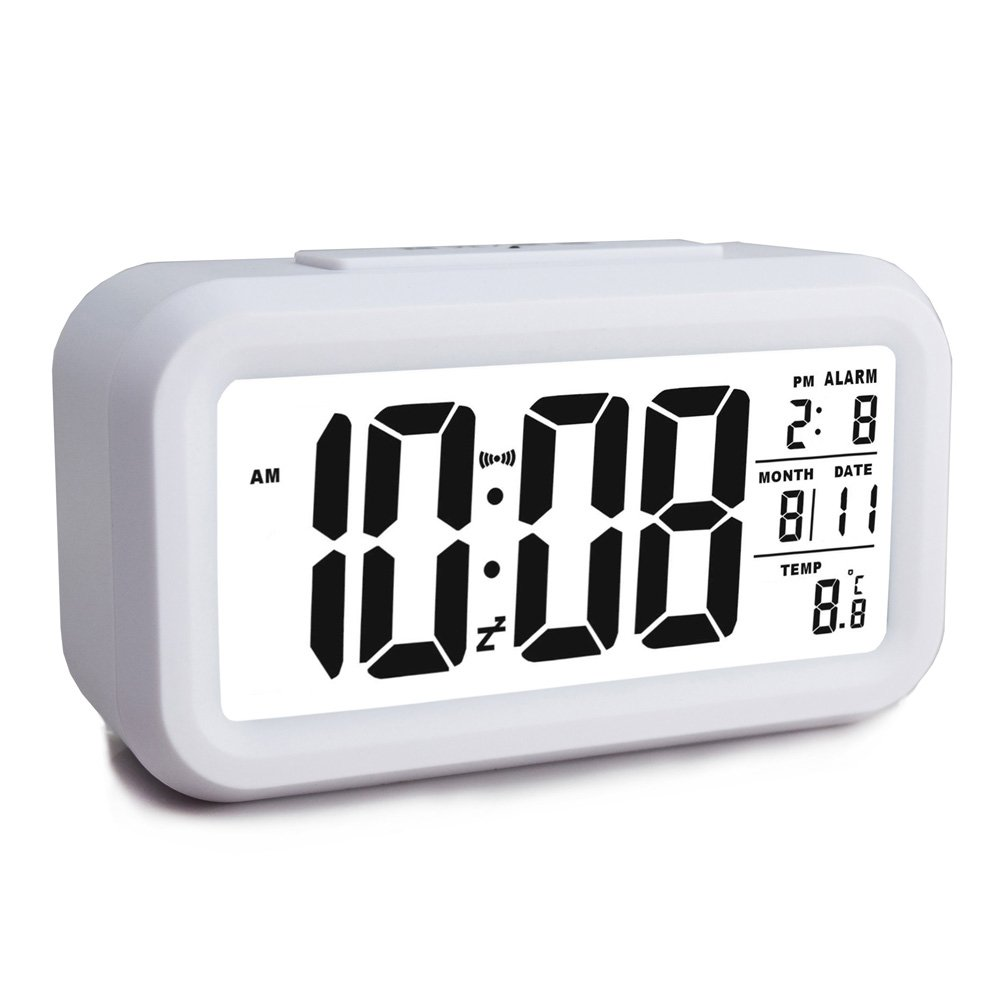 Ewtto Smart Digital Desktop Large LCD Display Alarm Clock with Calendar Temperature Snooze Backlight 4.6'' Display (Black, 4.6inches)