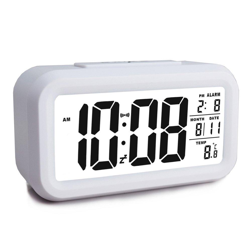 Ewtto Smart Digital Desktop Large LCD Display Alarm Clock with Calendar Temperature Snooze Backlight 4.6'' Display (Black, 4.6inches)
