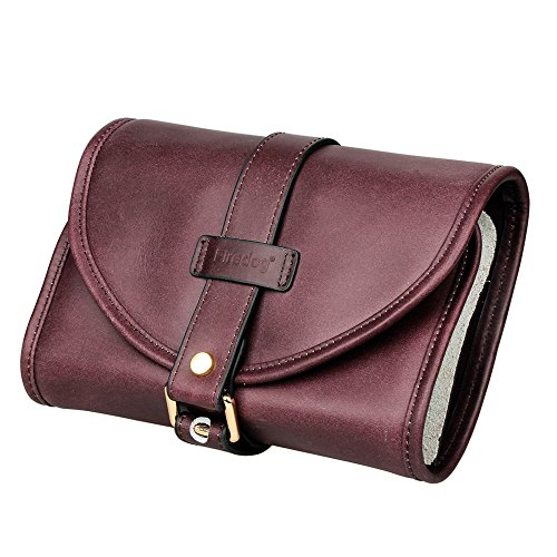 Traditional Brown Genuine Leather Tobacco Smoking Pipe Pouch Bag Organize Case Pipe Tool lighter Holder Pocket for 2 Pipe (red-brown) - Lighter Bag